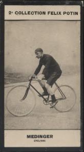Photographie de la collection Félix Potin (4 x 7,5 cm) représentant : Paul Médinger, coureur cycliste. Début XXe.. MEDINGER (Paul) - (Photo de la 2e ...