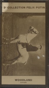 Photographie de la collection Félix Potin (4 x 7,5 cm) représentant : Maurice-Percy Woodland, jockey.. WOODLAND (Maurice -Percy) - (Photo de la 2e ...