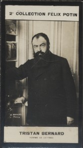 Photographie de la collection Félix Potin (4 x 7,5 cm) représentant : Tristan Bernard, homme de lettres. Début XXe.. BERNARD (Tristan) - (Photo de la ...