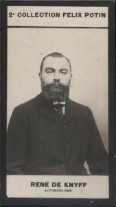 Photographie de la collection Félix Potin (4 x 7,5 cm) représentant : Chevalier René de Knyff, automobilisme.. DE KNYFF (René) - (Photo de la 2e ...