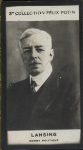 Photographie de la collection Félix Potin (4 x 7,5 cm) représentant : Lansing, homme politique.. LANSING (Homme politique) - (Photo de la 3e ...