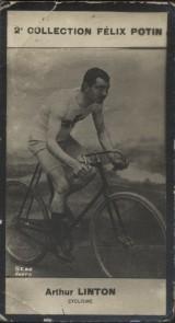 Photographie de la collection Félix Potin (4 x 7,5 cm) représentant : Arthur Linton, cycliste.. LINTON (Arthur) - (Photo de la 2e collection Félix ...