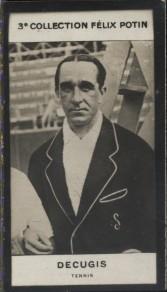 Photographie de la collection Félix Potin (4 x 7,5 cm) représentant : Decugis, tennisman.. DECUGIS, tennis - (Photo de la 3e collection Félix Potin)