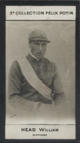 Photographie de la collection Félix Potin (4 x 7,5 cm) représentant : William Head, jockey.. HEAD William - (Photo de la 3e collection Félix Potin)