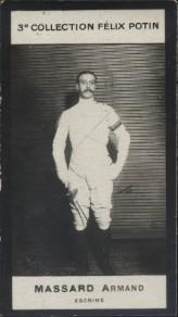 Photographie de la collection Félix Potin (4 x 7,5 cm) représentant : Armand Massard, escrimeur.. MASSARD (Armand) - (Photo de la 3e collection Félix ...