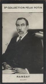 Photographie de la collection Félix Potin (4 x 7,5 cm) représentant : Ramsay, savant.. RAMSAY - Savant - (Photo de la 3e collection Félix Potin)
