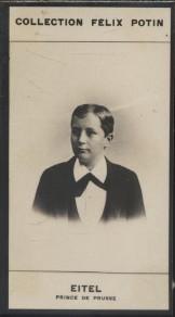 Photographie de la collection Félix Potin (4 x 7,5 cm) représentant : Prince Eitel de Prusse. Début XXe.. EITEL (Prince de Prusse) - (Photo de la ...