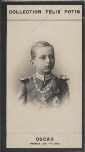 Photographie de la collection Félix Potin (4 x 7,5 cm) représentant : Oscar - Prince de Prusse.. OSCAR (Prince de Prusse)