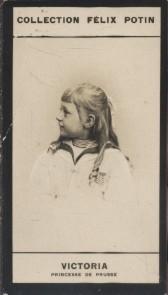 Photographie de la collection Félix Potin (4 x 7,5 cm) représentant : Victoria, Princesse de Prusse. Début XXe.. VICTORIA (Princesse de Prusse) - ...