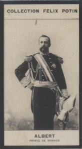Photographie de la collection Félix Potin (4 x 7,5 cm) représentant : Albert - Prince de Monaco.. ALBERT - Prince de Monaco