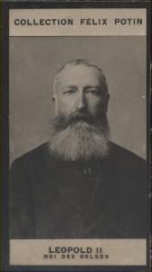 Photographie de la collection Félix Potin (4 x 7,5 cm) représentant : Léopold II - Roi des Belges.. LEOPOLD II - Roi des Belges