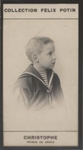 Photographie de la collection Félix Potin (4 x 7,5 cm) représentant : Christophe - Prince de Grèce.. CHRISTOPHE - Prince de Grèce