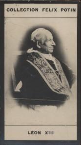 Photographie de la collection Félix Potin (4 x 7,5 cm) représentant : Léon XIII - Pape.. LEON XIII - Pape