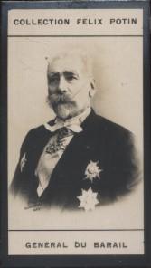 Photographie de la collection Félix Potin (4 x 7,5 cm) représentant : Général Charles Du Barail.. DU BARAIL (Charles)