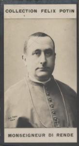 Photographie de la collection Félix Potin (4 x 7,5 cm) représentant : Monseigneur Camillo di Rende - Cardinal.. DI RENDE (Mgr) - (Photo de la 3e ...