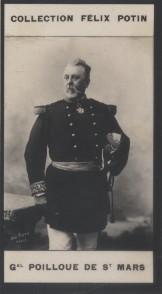 Photographie de la collection Félix Potin (4 x 7,5 cm) représentant : Général Poilloüe de Saint-Mars. POILLOUE DE SAINT-MARS (Général) Photo Pirou.