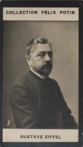 Photographie de la collection Félix Potin (4 x 7,5 cm) représentant : Gustave Eiffel. EIFFEL (Gustave) Photo Eugène Pirou.