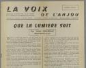 La voix de l'Anjou. Périodique d'information et de liaison de la Fédération des Républicains sociaux. Numéro spécial. Que la lumière soit. Tract de ...