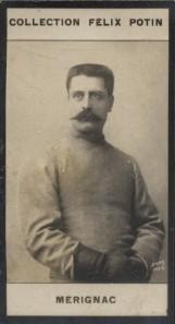 Photographie de la collection Félix Potin (4 x 7,5 cm) représentant : Louis Mérignac, escrimeur.. MERIGNAC (Louis) Photo Boyer.