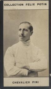 Photographie de la collection Félix Potin (4 x 7,5 cm) représentant : Chevalier Giuseppe Pini, escrimeur.. PINI (Chevalier) Photo Pirou.
