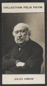 Photographie de la collection Félix Potin (4 x 7,5 cm) représentant : Jules Simon, homme politique.. SIMON Jules Photo Pirou.
