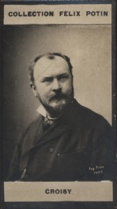 Photographie de la collection Félix Potin (4 x 7,5 cm) représentant : Onésime Croisy, sculpteur.. CROISY (Onésime-Aristide) Photo Eugène Pirou.