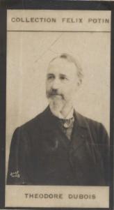 Photographie de la collection Félix Potin (4 x 7,5 cm) représentant : Théodore Dubois, compositeur.. DUBOIS (Théodore) Photo Bary.