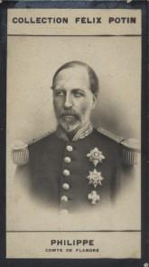 Photographie de la collection Félix Potin (4 x 7,5 cm) représentant : Philippe - Comte de Flandre.. PHILIPPE (Comte de Flandre)