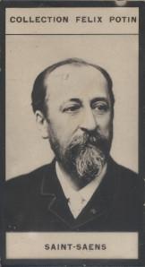 Photographie de la collection Félix Potin (4 x 7,5 cm) représentant : Camille Saint-Saens, compositeur.. SAINT-SAENS (Camille)