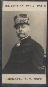Photographie de la collection Félix Potin (4 x 7,5 cm) représentant : Général Emile Zurlinden. Début XXe.. ZURLINDEN (Emile) - (Photo de la collection ...