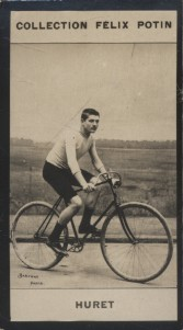 Photographie de la collection Félix Potin (4 x 7,5 cm) représentant : Constant Huret, coureur cycliste. Début XXe.. HURET (Constant) - (Photo de la ...