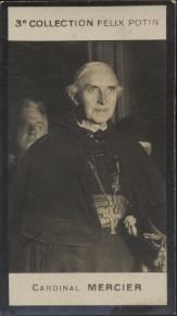 Photographie de la collection Félix Potin (4 x 7,5 cm) représentant : Cardinal Mercier.. MERCIER (Cardinal) - (Photo de la 3e collection Félix Potin)