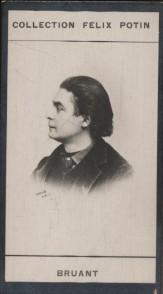Photographie de la collection Félix Potin (4 x 7,5 cm) représentant : Aristide Bruant, chanteur et compositeur.. BRUANT (Aristide) Photo Nadar.