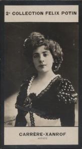Photographie de la collection Félix Potin (4 x 7,5 cm) représentant : Marguerite Carrère-Xanrof.. CARRERE-XANROF (Marguerite) - (Photo de la 2e ...