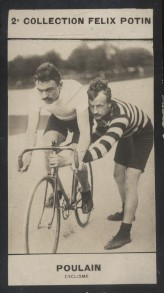 Photographie de la collection Félix Potin (4 x 7,5 cm) représentant : François Poulain, coureur cycliste. Début XXe.. POULAIN (François) - (Photo de ...