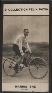 Photographie de la collection Félix Potin (4 x 7,5 cm) représentant : Marius Thé, coureur cycliste.. THE (Marius) - (Photo de la 2e collection Félix ...