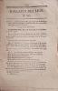 Bulletin des lois. Contient l'ordonnance du Roi (2 pages) qui autorise l'établissement d'une passerelle suspendue sur la Garonne, entre la ville ...