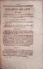 Bulletin des lois. Contient la loi qui autorise l'établissement d'un chemin de fer de Strasbourg à Bâle (16 pages). 13 mars 1838.. Collectif : ...