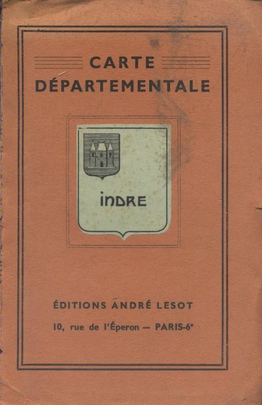 Indre. Carte départementale en couleurs. 100x130 cm. Repliée. Vers 1950.. INDRE