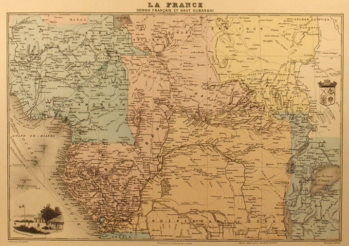 Congo Français et Haut Oubanghi. Gravure de Brazzaville. Armes du Congo Français. Vers 1900.. J. MIGEON