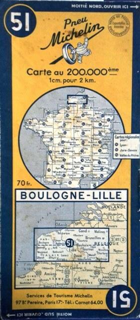 Ancienne Carte Michelin N° 51 : Boulogne - Lille. Carte au 200.000e.. CARTE MICHELIN