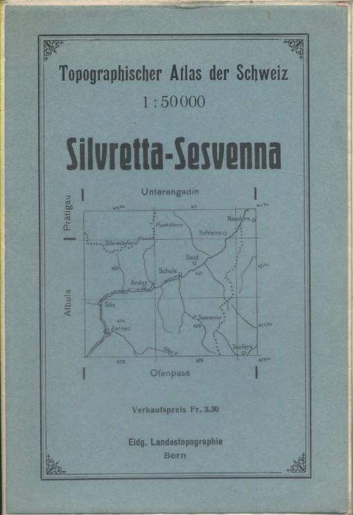 Topographischer Atlas der Schweiz. Silvretta-Sesvenna.. TOPOGRAPHISHER ATLAS DER SCHWEIZ - Sivretta-Sesvenna