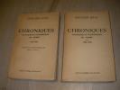 CHRONIQUES POLITIQUES ET ECONOMIQUES DU TEMPS - TOME 1: 1920-1927  TOME 2: 1928-1933. JULIA EDOUARD
