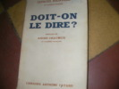 DOIT-ON LE DIRE?. BAINVILLE JACQUES