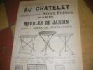 AU CHATELET- MEUBLES DE JARDIN - JEUX- AGRES DE GYMNASTIQUE. CATALOGUE PUBLICITAIRE