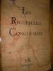 LES RECHERCHES CONGOLAISES N°26 NOVEMBRE 1938.. COLLECTIF