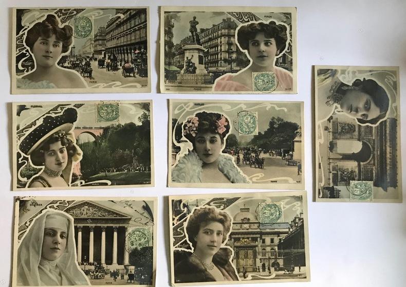 """Vues de Paris, avec photographies d'artistes par Reutlinger inscrites dans un encadrement """"art nouveau"""".. CARTES POSTALES """"ART NOUVEAU"""" - REUTLINGER, ..."""