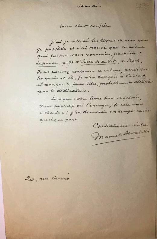 """Lettre autographe signée à  """"Mon cher confrère"""", sans date, ( vers 1900) """"samedi, 20 rue Severo"""".  Il a feuilleté ses """"livres de vers"""" et n'a trouvé ..."""