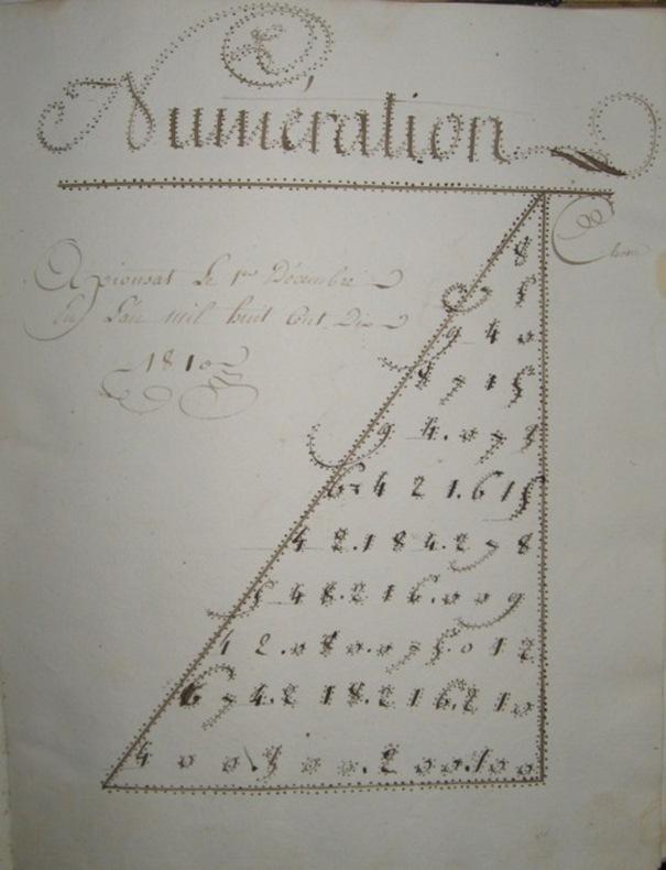 Manuscrit de Pierre MAGES ( de Pionsat, Puy-de-Dome) , tenu en 1809- 1810.. MANUSCRIT - MATHEMATIQUES, CALCUL.