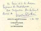 Aspects molculaires de l'Adaptation et de la Phylognie ;  [Prface de P.P. Grass].. FLORKIN, Marcel (1900-1979).